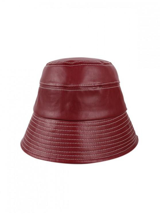 fashion Winter Bucket Leather Hat - RED WINE