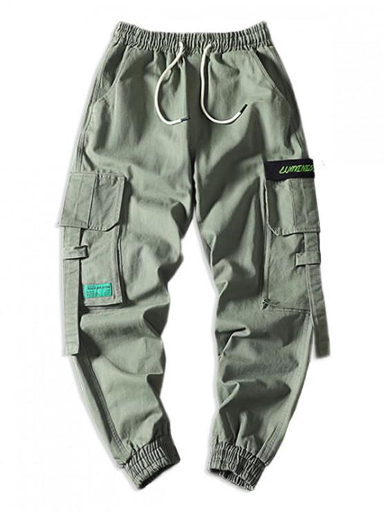 trendy Letter Pattern Pocket Decorated Cargo Pants - ARMY GREEN 4XL