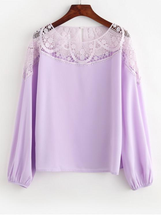 shop ZAFUL Chiffon Lace Panel Office Blouse - WISTERIA PURPLE XL