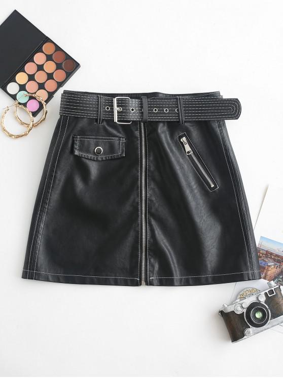 lady Belted Zip Front PU Leather Mini Skirt - BLACK L