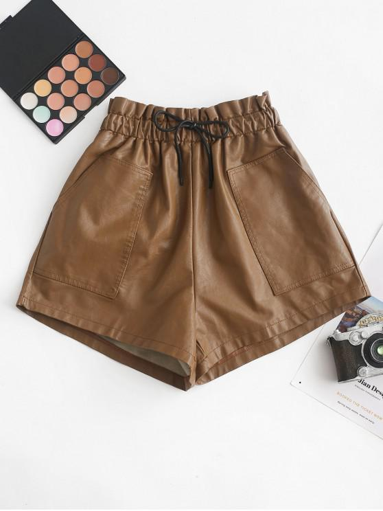 trendy Pockets Drawstring PU Leather Shorts - LIGHT BROWN S