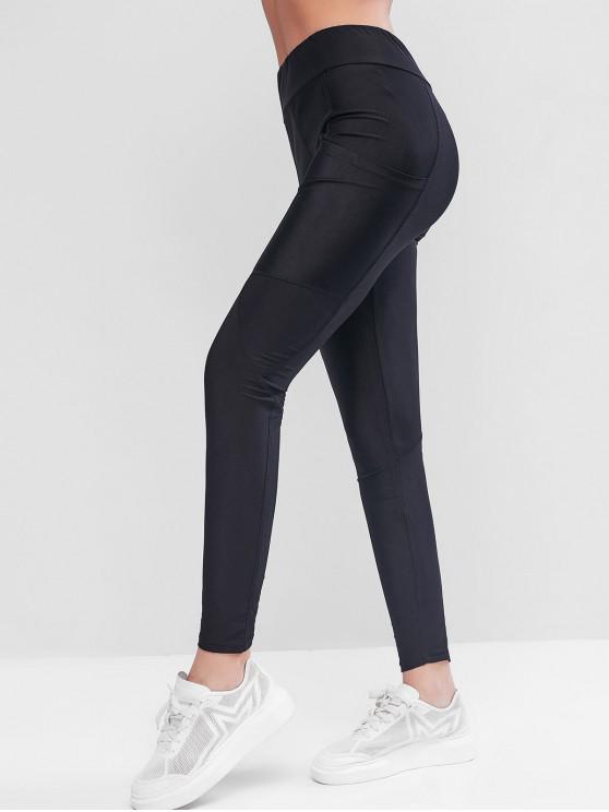 trendy ZAFUL Side Pockets High Waisted Skinny Leggings - BLACK L