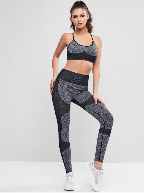 online Criss Cross Heather Rib-knit High Waisted Leggings Set - BLACK L