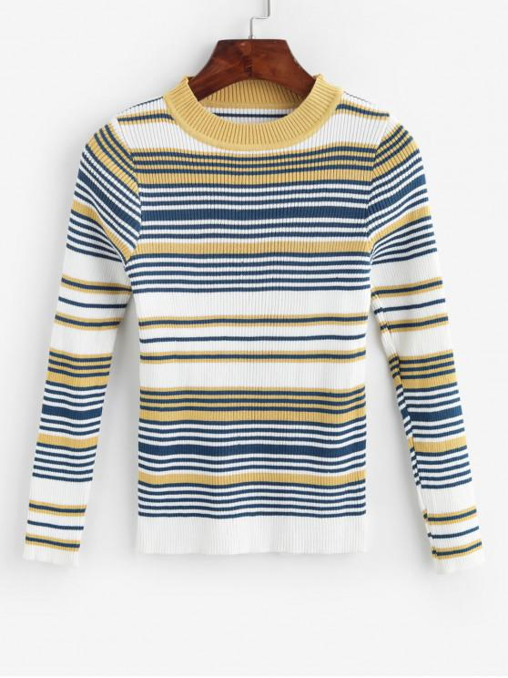 womens Striped Ribbed Knit Slim Sweater - MULTI-B ONE SIZE
