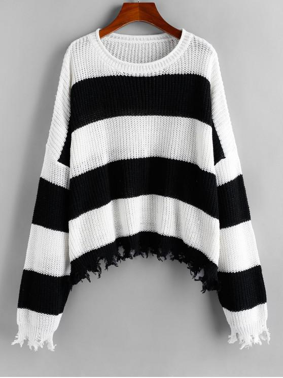 ladies ZAFUL Two Tone Striped Frayed Drop Shoulder Sweater - MULTI S