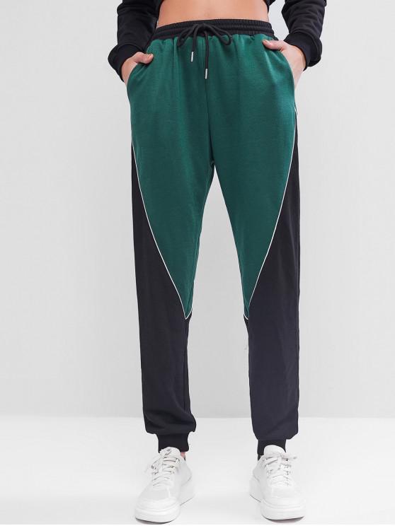 women ZAFUL Contrast High Waisted Jogger Pants - DEEP GREEN XL