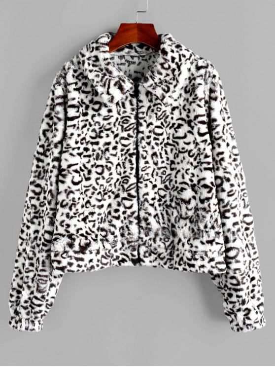 latest ZAFUL Faux Fur Leopard Fluffy Zipper Coat - MULTI M