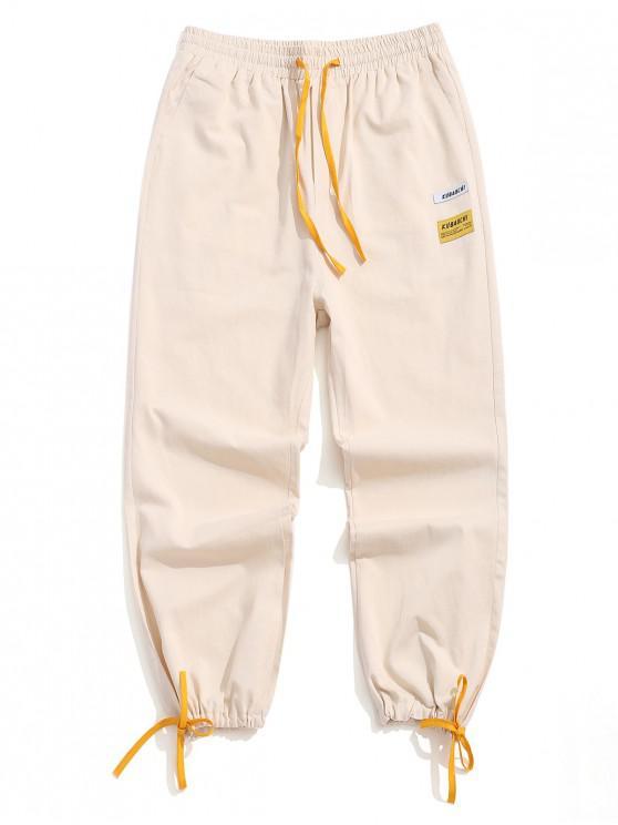 Scrisoare de imprimare color înfășurate pantaloni casual - Lumina Khaki XS