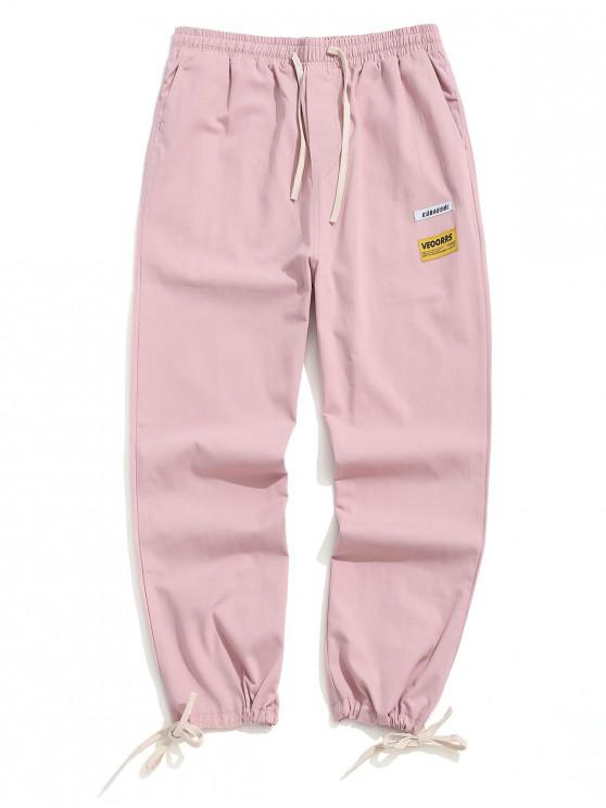 women Letter Print Color Spliced Casual Pants - LIPSTICK PINK L