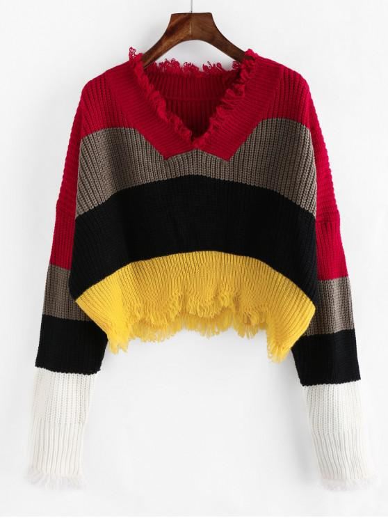 affordable ZAFUL Colorblock Frayed Drop Shoulder Crop Sweater - MULTI-E L