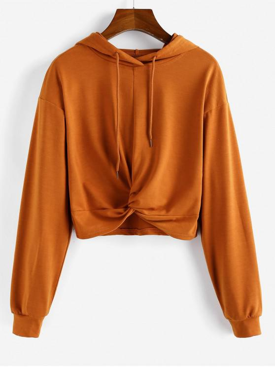 shops ZAFUL Twisted Drop Shoulder Crop Hoodie - CARAMEL L