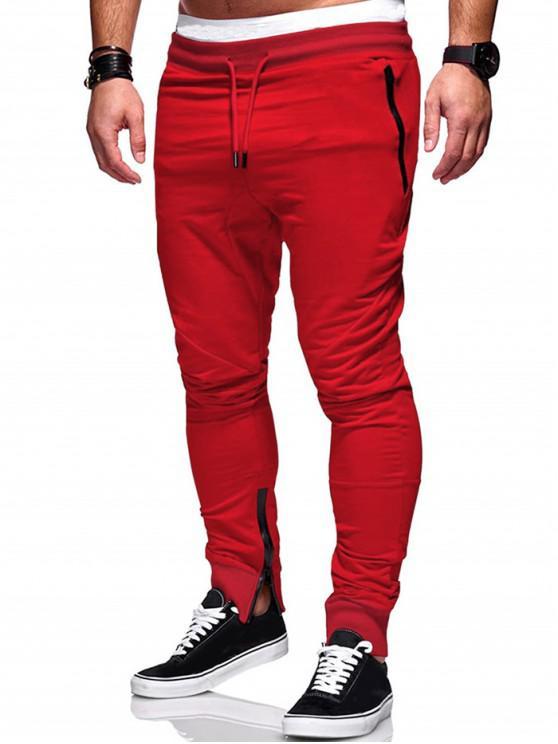 womens Plain Zip Hem Pencil Pants - RED XS