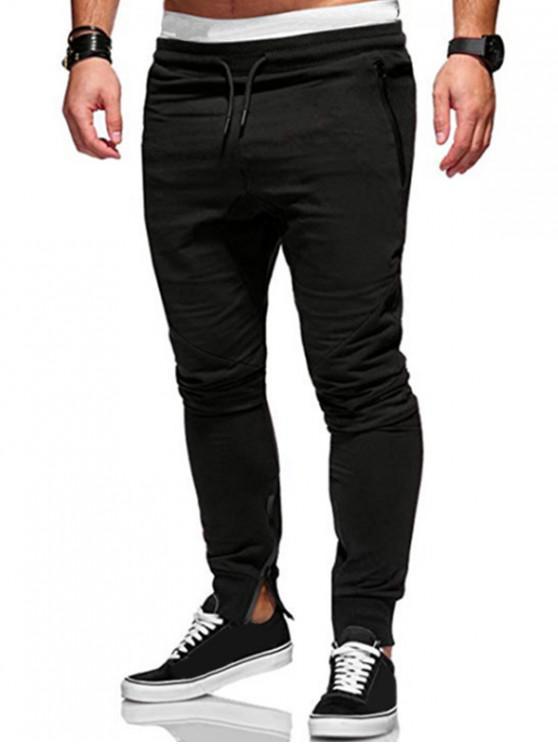 new Plain Zip Hem Pencil Pants - BLACK L