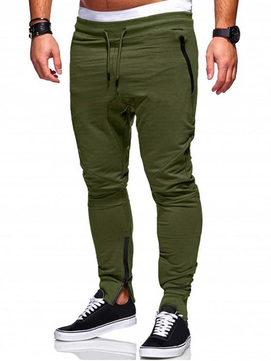 fashion Plain Zip Hem Pencil Pants - ARMY GREEN L