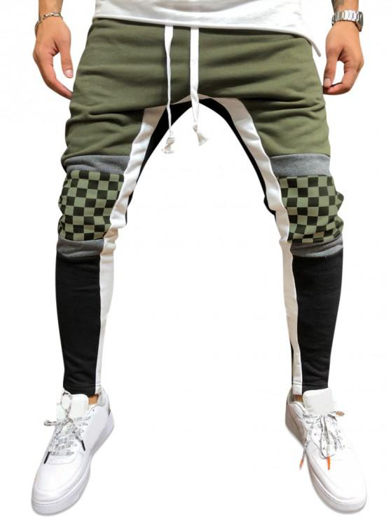 buy Plaid Knee Color-blocking Drawstring Casual Pants - ARMY GREEN S