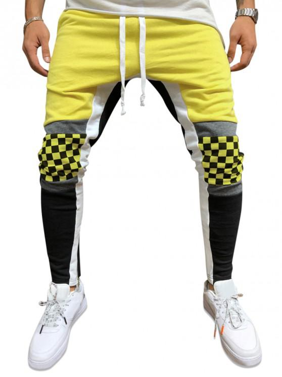 best Plaid Knee Color-blocking Drawstring Casual Pants - YELLOW L