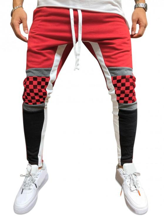 hot Plaid Knee Color-blocking Drawstring Casual Pants - RED M