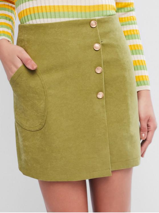 hot Mock Button Pocket Zip Fly Mini Skirt - FERN GREEN L