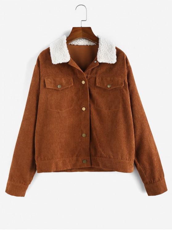 shops ZAFUL Corduroy Colorblock Drop Shoulder Jacket - BROWN M