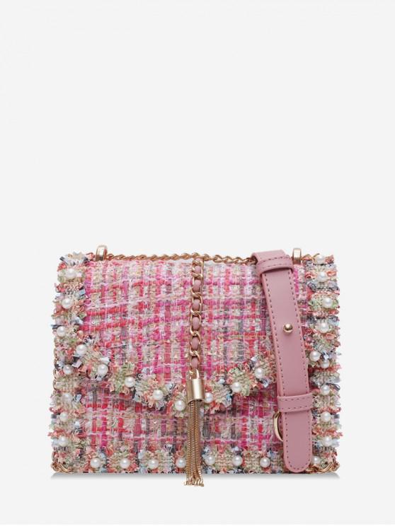 Perlas de imitación con adorno de Crossbody del Tweed - Rosado