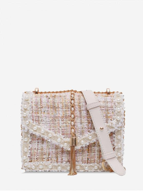 fashion Faux Pearl Embellished Tweed Crossbody Bag - WHITE