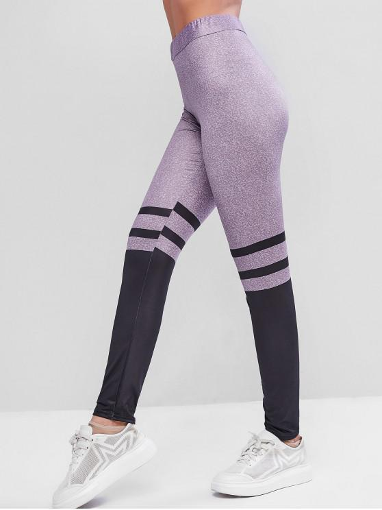 latest Striped High Waisted Skinny Gym Leggings - MULTI S