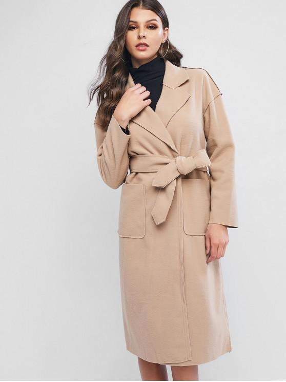 women's Wool Blend Pocket Belted Longline Coat - TAN XL