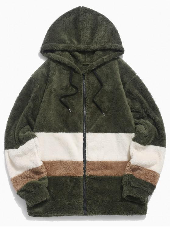 lady Colorblock Splicing Faux Fur Fluffy Hooded Jacket - ARMY GREEN S