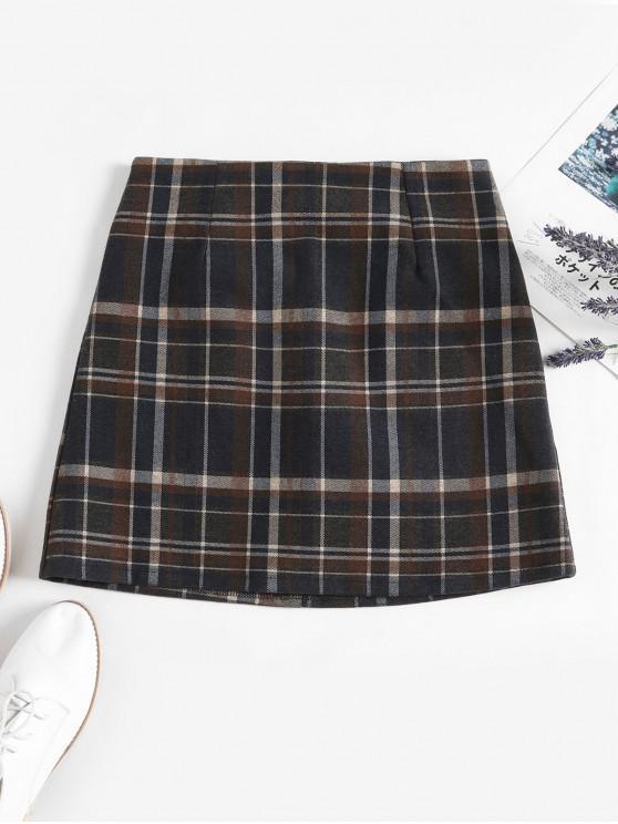 women's Lined Back Zipper Plaid Mini Skirt - COFFEE M