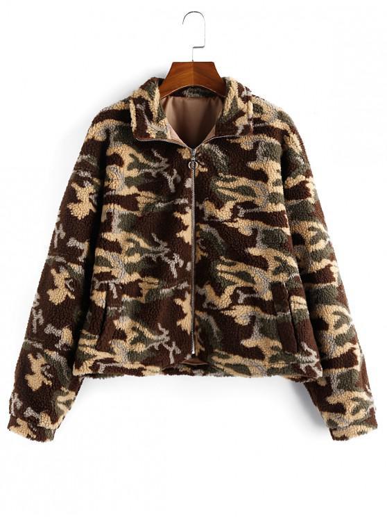 hot ZAFUL Camo Zip Fluffy Drop Shoulder Teddy Jacket - WOODLAND CAMOUFLAGE XL