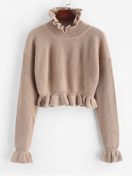 sale Solid Ruffled Pullover Sweater - CAMEL BROWN M