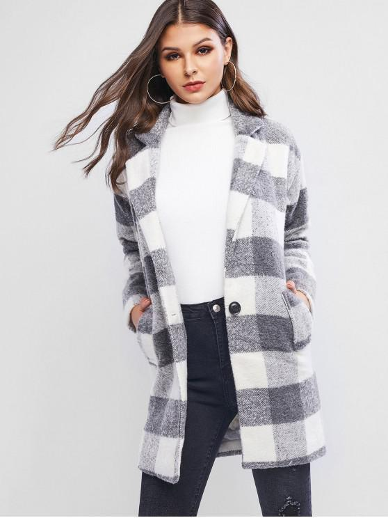 ladies Lapel Grid Longline Coat - GRAY M