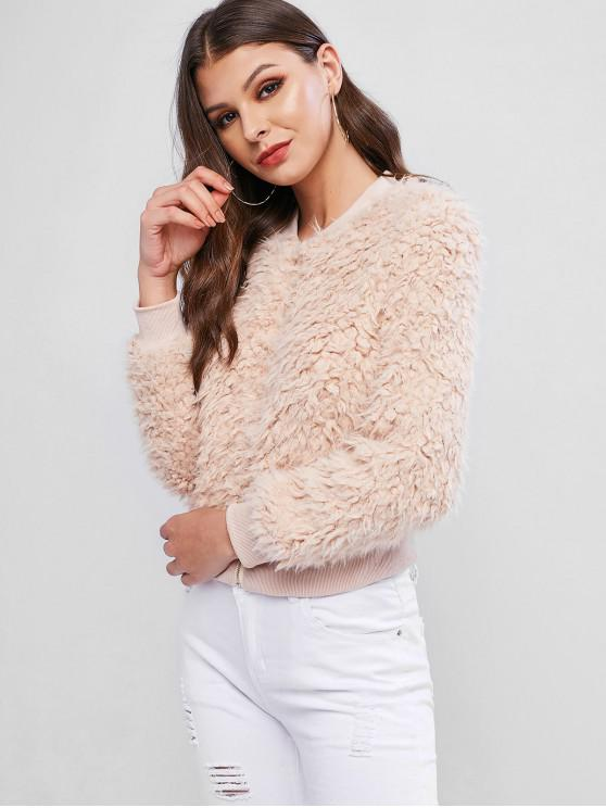 chic Stand Collar Zippper Faux Shearling Coat - APRICOT M