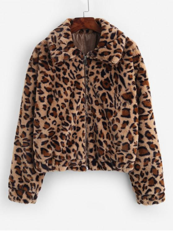 shop Leopard Print Zip Up Faux Fur Coat - LEOPARD L