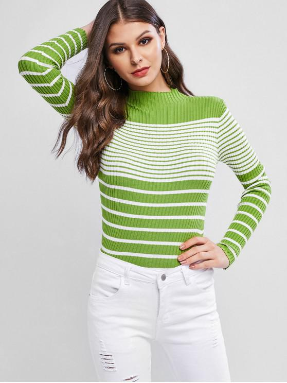 outfits Ribbed Striped Mock Neck Fitted Sweater - GREEN ONE SIZE