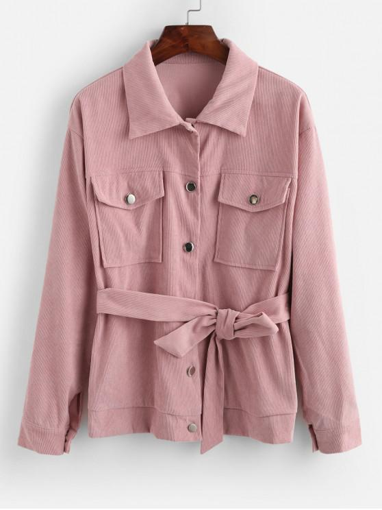 best ZAFUL Button Front Flap Pockets Belted Corduroy Jacket - PINK M