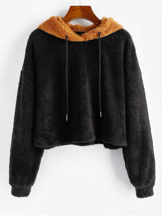 buy ZAFUL Two Tone Fluffy Drop Shoulder Teddy Hoodie - MULTI XL