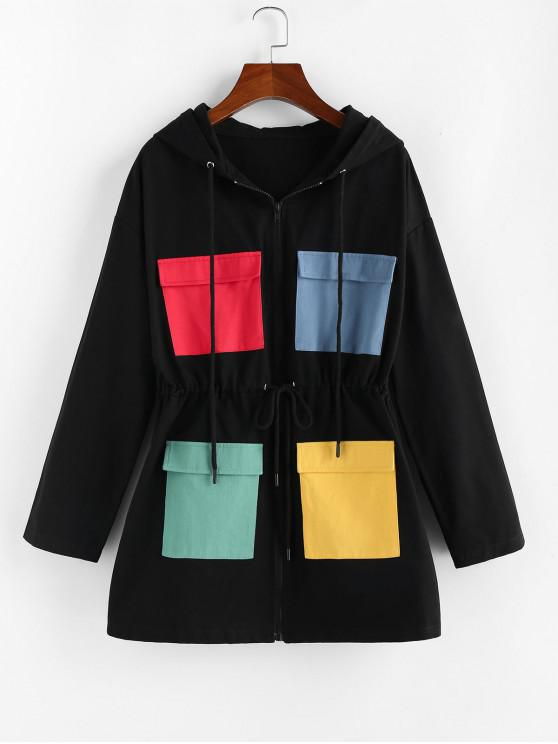 new ZAFUL Drawstring Colorblock Pockets Hooded Coat - BLACK S