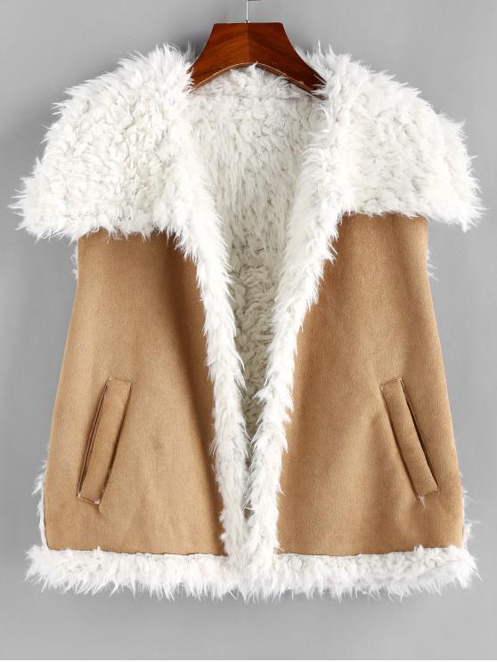 shops ZAFUL Faux Shearling Lining Suede Waistcoat - CAMEL BROWN XL