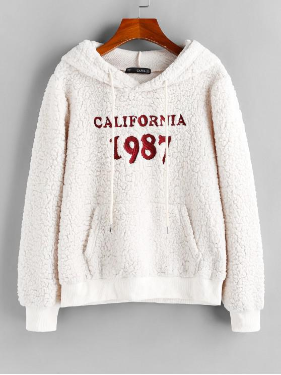 fashion ZAFUL Letter Embroidered Faux Shearling Hoodie - WHITE M