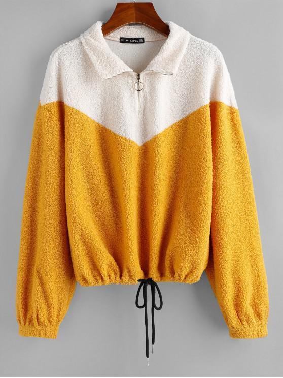 trendy ZAFUL Drawstring Hem Two Tone Teddy Sweatshirt - MULTI XL