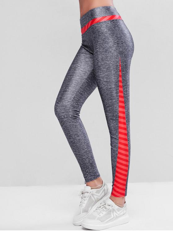 buy Colorblock Heather Striped Skinny Gym Leggings - MULTI S