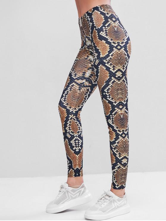 trendy Snakskin Skinny Sports Leggings - MULTI M