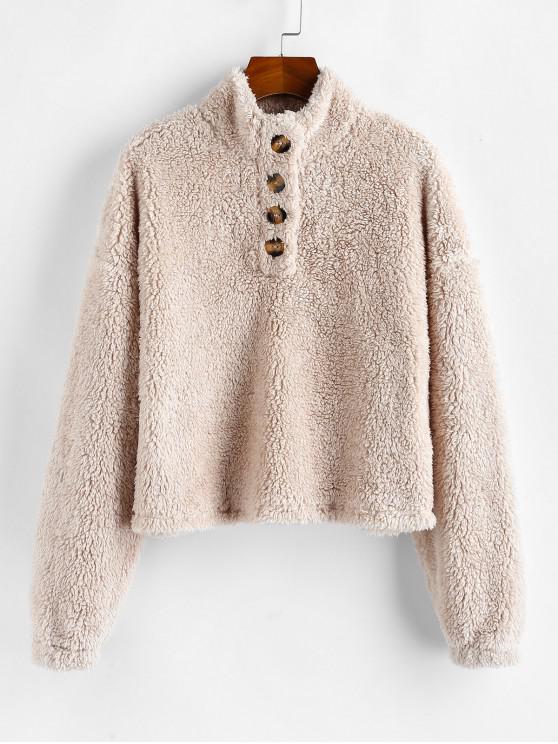 chic ZAFUL Button Placket Drop Shoulder Teddy Sweatshirt - TAN M
