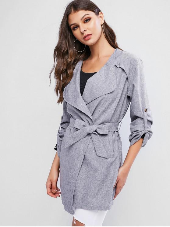 women Tab Sleeve Belted Pockets Heathered Coat - GRAY L