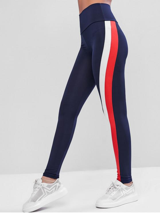 unique High Waisted Striped Side Gym Leggings - BLUE L