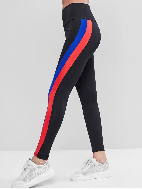online High Waisted Striped Side Gym Leggings - BLACK S
