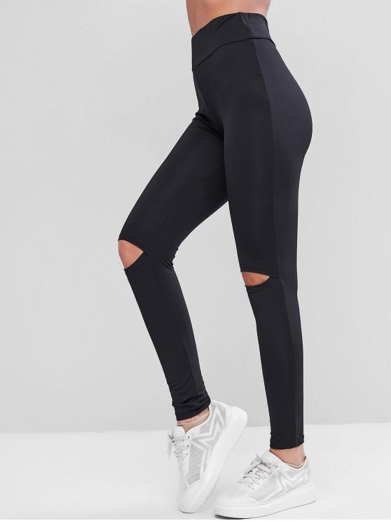 outfits Ripped Knee High Waisted Skinny Leggings - BLACK M