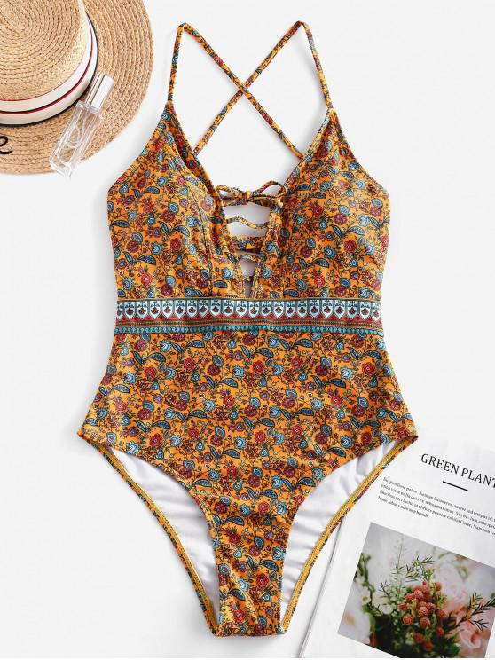 chic ZAFUL Bohemian Flower Lace Up One-piece Swimsuit - MULTI-A L
