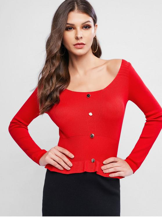 Scoop Neck Button impodobita Peplum Pulover - roșu O marime